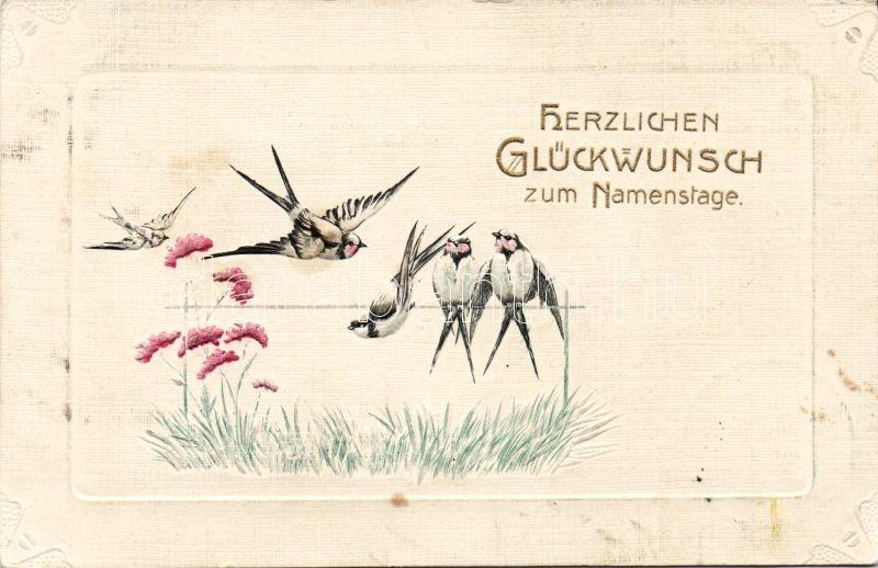 Name day, swallow, flower, golden decoration Emb., Névnap, fecskék, virág, aranyozott Emb.
