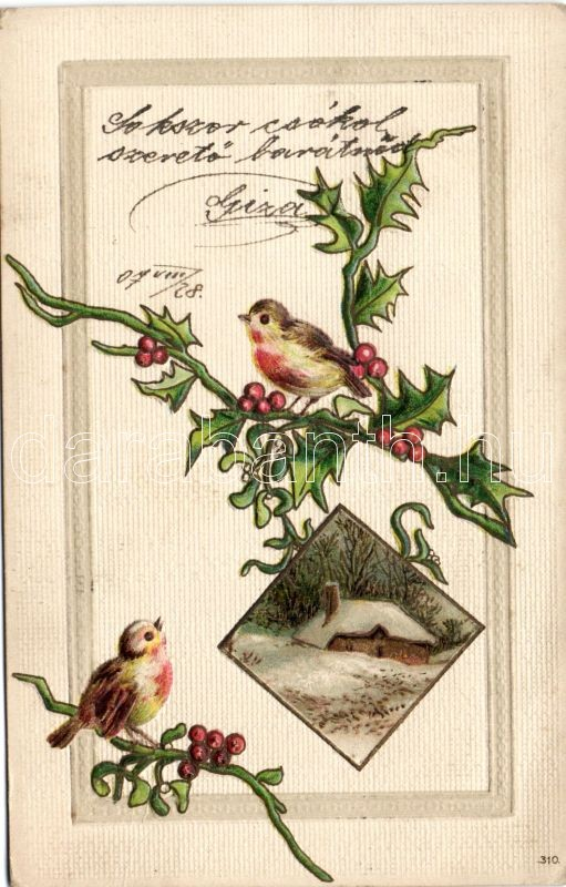 Bird; European Robin, red berries, cottage Emb. litho, Vörösbegy, madár, piros bogyós növény, házikó Emb. litho