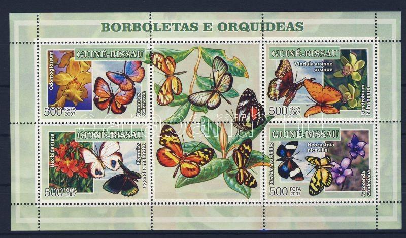 Butterflies and orchids minisheet, Lepkék és orchideák kisív, Schmetterlinge und Orchideen Kleinbogen
