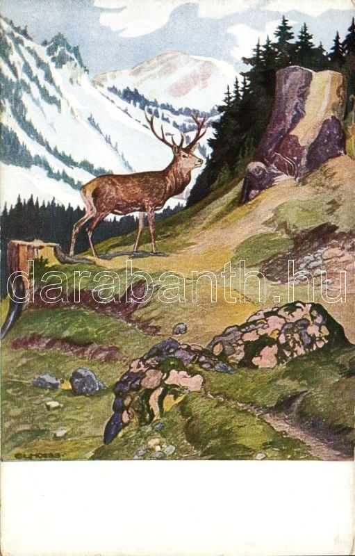 Hochwaldleben im Herbst, serie II. 3. / Deer, artist signed, Hochwaldleben im Herbst, serie II. 3. / Őz, szignós