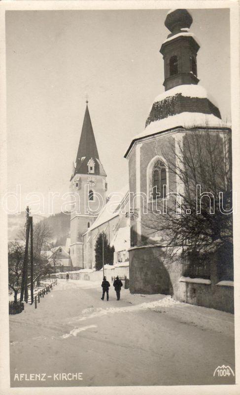 Aflenz Kurort, church in winter, Aflenz Kurort, templom télen