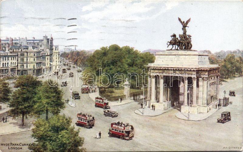 London, Hyde Park Corner, autobus, automobile A. R. Quinton