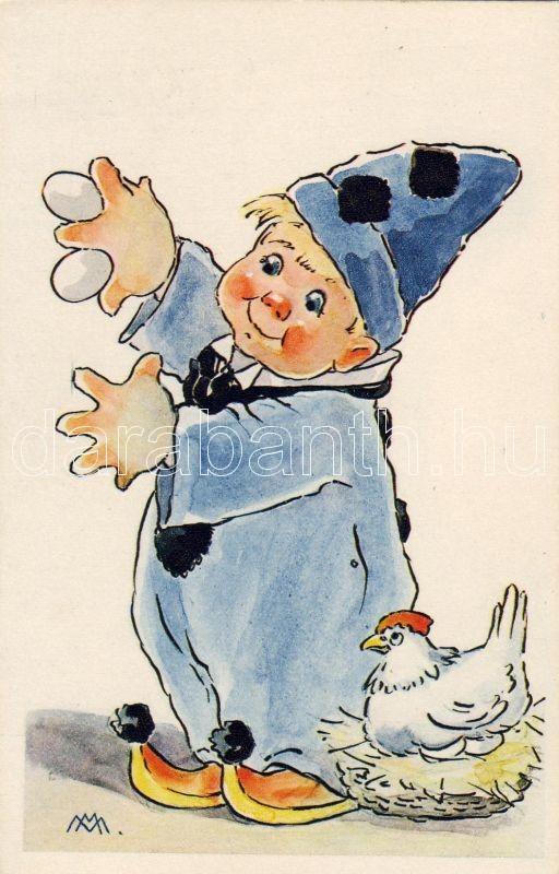 Italian, humorous art postcard, clown, s: M.M., Olasz humoros művészlap, bohóc, s: M.M.
