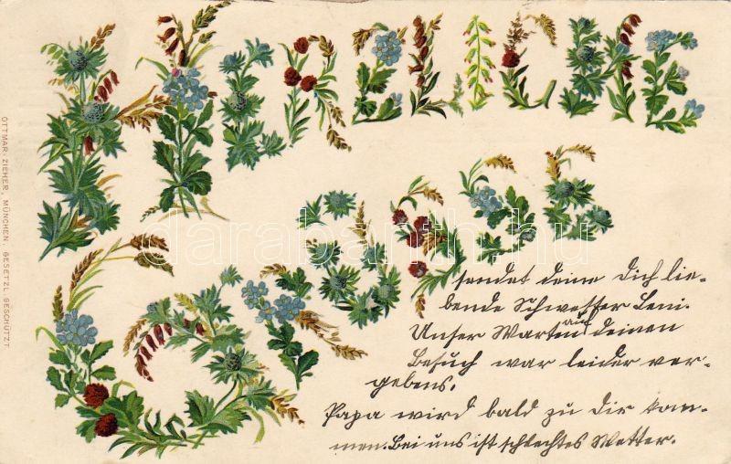 Flower greeting card, Virágos üdvözlőlap