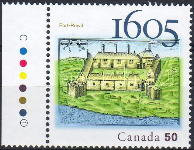 Port Royal margin stamp, Port Royal ívszéli bélyeg, Port Royal Marke mit Rand