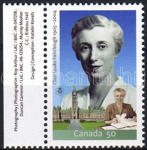 Ellen Fairclough politikus ívszéli bélyeg, Ellen Fairclough politician margin stamp, Ellen Fairclough Politikerin Marke mit Rand