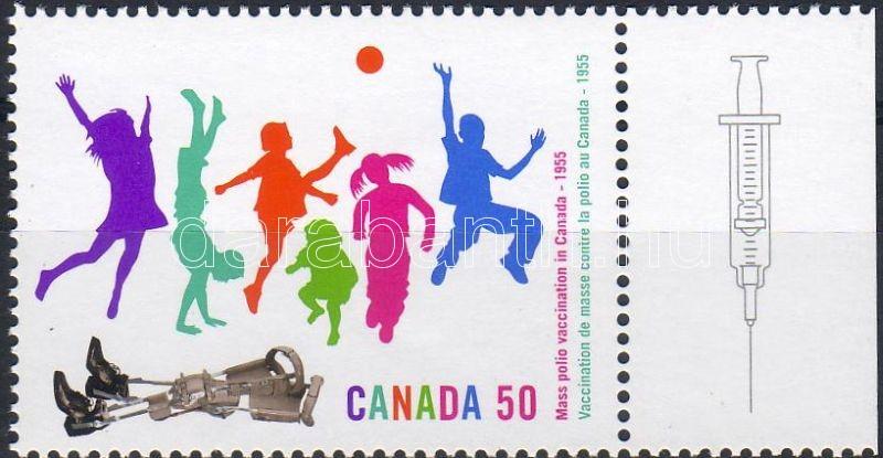 Vaccination against polio margin stamp, Gyermekbénulás elleni oltás ívszéli bélyeg, Schutzimpfung gegen Kinderlähmung Marke mit Rand