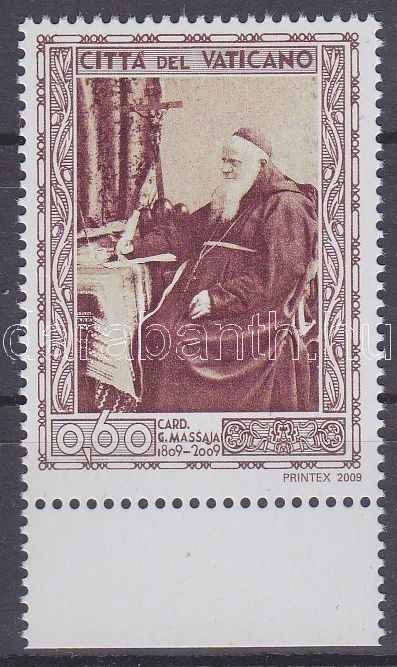 Bicentenary of the birth of cardinal Massaja margin stamp, 200 éve született Massaja bíboros ívszéli bélyeg, 200. Geburtstag von Kardinal Guglielmo Massaja Marke mit Rand