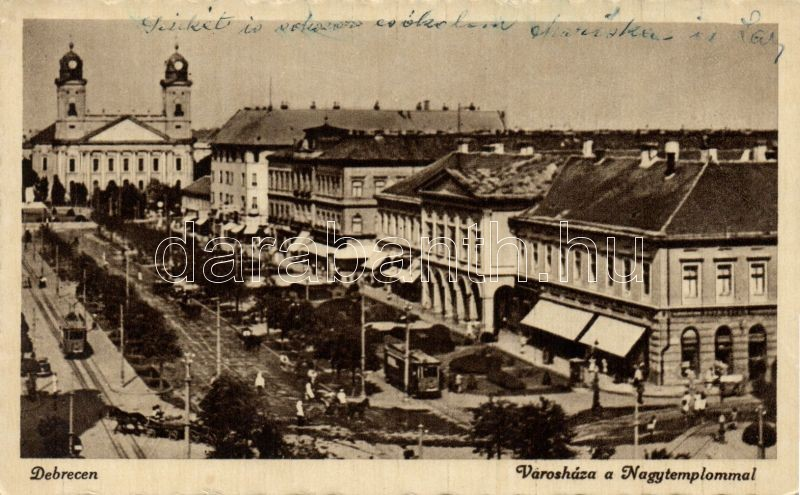 Debrecen, Városháza, Nagytemplom, villamos