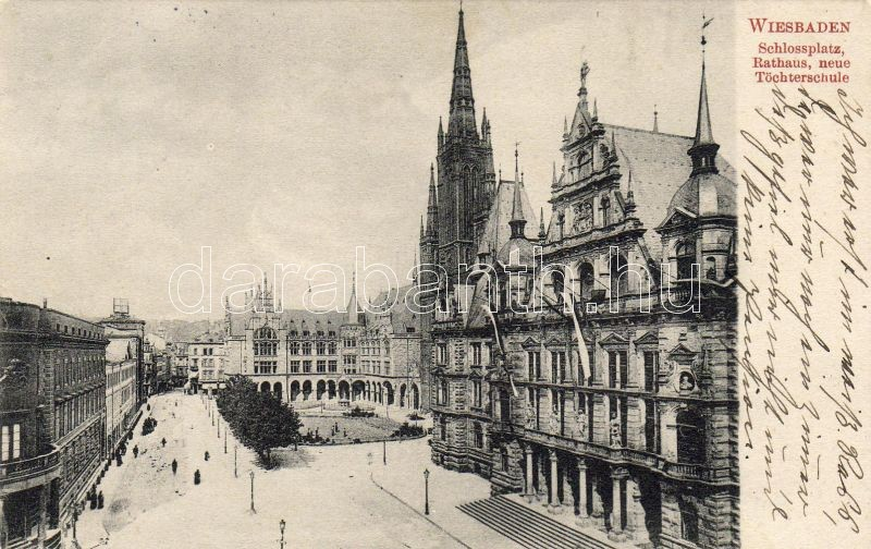 Wiesbaden Castle square, town hall, girl school, Wiesbaden Kastély tér, városháza, leány iskola
