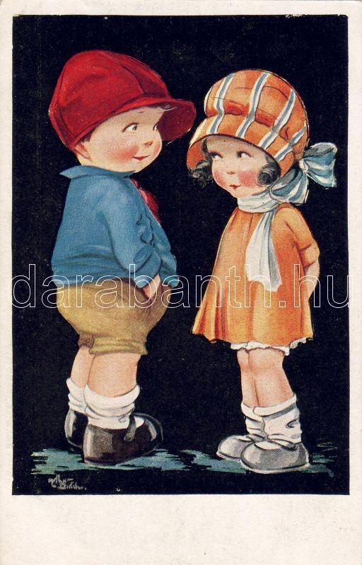 Children, artist signed (gluemark), Gyerekek, szignós (ragasztónyom)