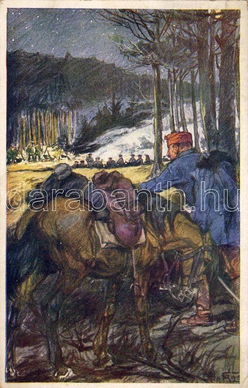 Soldier in the battle, artist signed, Katona csatában, szignós