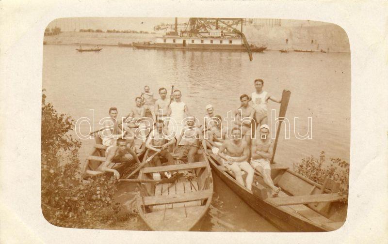 Rowers, SS Erős, group photo, Evezősök, Erős gőzhajó, fotó