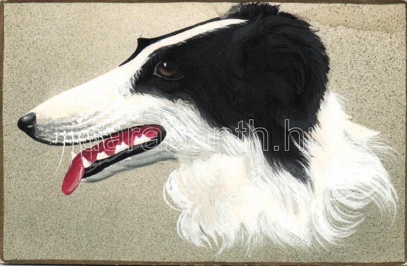 Dog, Sighthounds, hand painted postcard, Kutya, Agár, kézzel festett képeslap
