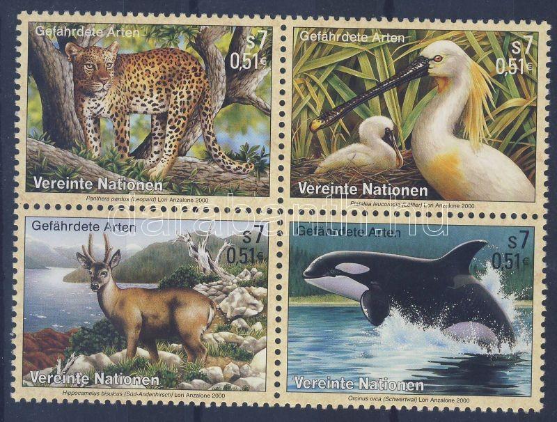 Endangered animals block of 4, Veszélyeztetett állatok négyestömb, Gefährdete Arten Viererblock