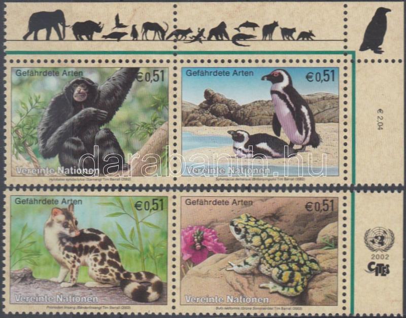 Endangered animals margin + corner pair (set), Veszélyeztetett állatok ívszéli + ívsarki pár (sor), Gefährdete Tiere 2 Paare mit Rand (Satz)