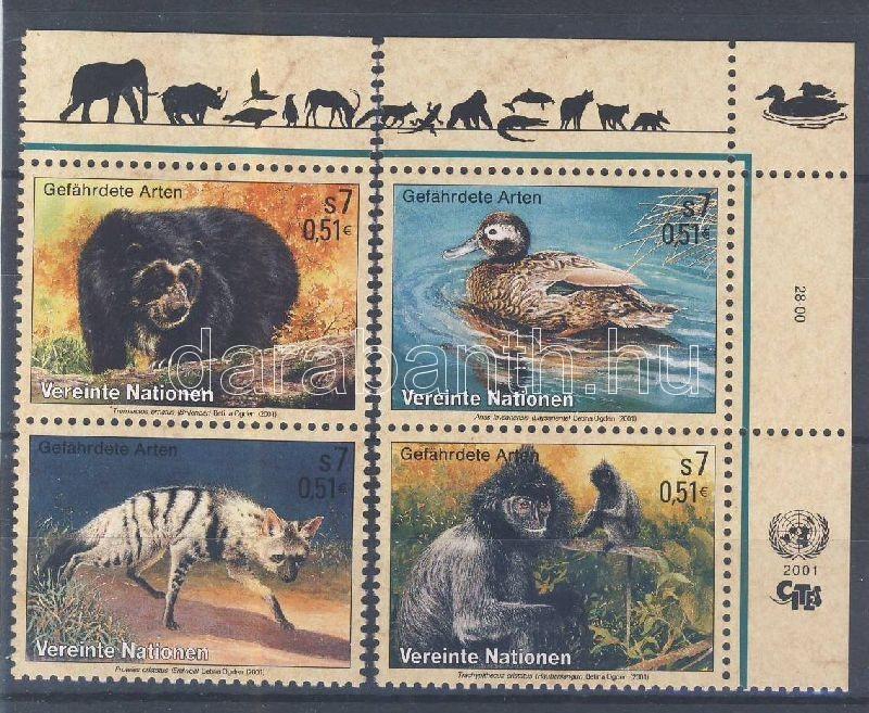 Endangered animals margin + corner pair (set), Veszélyeztetett állatok ívszéli + ívsarki pár (sor), Gefährdete Tiere Satz mit Rand (Satz)