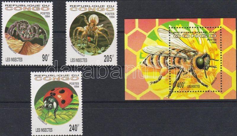 Insects and spiders set + block, Rovarok és pókok sor + blokk, Insekten und Spinnentiere Satz + Block