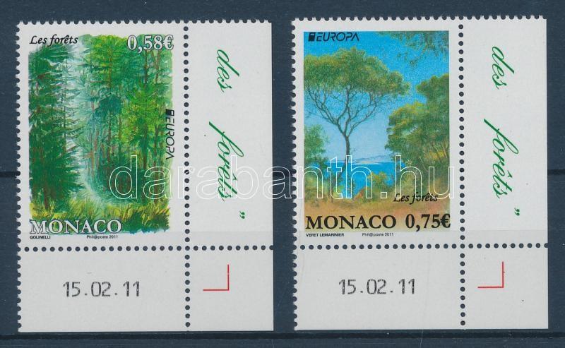 Europa CEPT Erdők ívsarki sor Europa CEPT Der Wald Satz mit Rand Europa CEPT Forest corner set