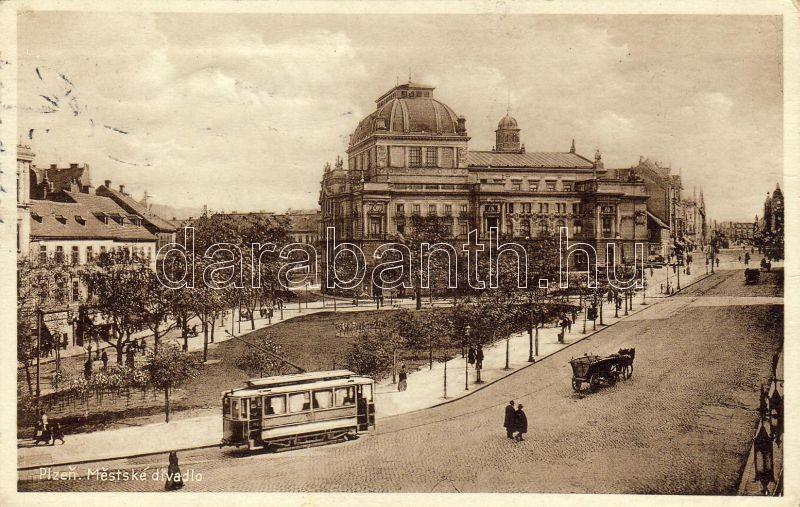 Plzen, Pilsen; Municipal Theatre, trams