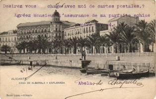 Alicante, house of Alberola and Explanada, boats