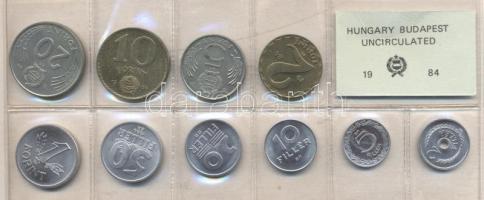 1984. 2 Fillér - 20 Forint coin set with 10 pieces of various values, 1984. Forgalmi sor 2f-20Ft, 10db klf értékkel, 1984. 2 Fillér - 20 Forint Kursmünzensatz mit 10 Stück verschiedener Werte