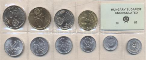1989. 2 Fillér - 20 Forint coin set with 10 pieces of various values, 1989. Forgalmi sor 2f-20Ft, 10db klf értékkel, 1989. 2 Fillér - 20 Forint Kursmünzensatz mit 10 Stück verschiedener Werte