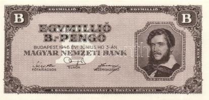 "1946. 1.000.000BP ""Kossuth Lajos"" felcsúszott alapnyomattal 1946. 1.000.000 Billpengő ""Lajos Kossuth"" mit oberen Unterdruck 1946. 1.000.000 Billpengő ""Lajos Kossuth"" with upper underprint"
