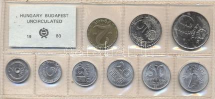 1980. 2 Fillér - 10 Forint coin set with 9 pieces of various values, 1980. Forgalmi sor 2f-10Ft, 9db klf értékkel, 1980. 2 Fillér - 10 Forint Kursmünzensatz mit 9 Stück verschiedener Werte