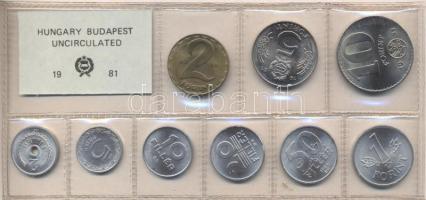 1981. 2 Fillér - 10 Forint coin set with 9 pieces of various values, 1981. Forgalmi sor 2f-10Ft, 9db klf értékkel, 1981. 2 Fillér - 10 Forint Kursmünzensatz mit 9 Stück verschiedener Werte