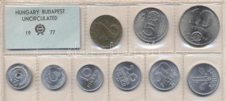 1977. 2 Fillér - 10 Forint coin set with 9 pieces of various values, 1977. Forgalmi sor 2f-10Ft, 9db klf értékkel, 1977. 2 Fillér - 10 Forint Kursmünzensatz mit 9 Stück verschiedener Werte