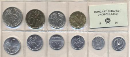 1985. 2 Fillér - 20 Forint coin set with 10 pieces of various values, 1985. Forgalmi sor 2f-20Ft, 10db klf értékkel, 1985. 2 Fillér - 20 Forint Kursmünzensatz mit 10 Stück verschiedener Werte