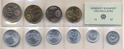 1987. 2 Fillér - 20 Forint coin set with 10 pieces of various values, 1987. Forgalmi sor 2f-20Ft, 10db klf értékkel, 1987. 2 Fillér - 20 Forint Kursmünzensatz mit 10 Stück verschiedener Werte