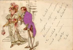 Lady with man, decorated postcard, litho, Hölgy férfival, díszített képeslap, litho