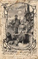 Hunters with dog, Vadász pár kutyával
