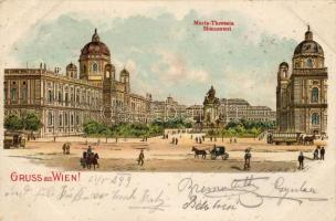1899 Vienna, Wien; Maria Theresia monument, litho, 1899 Bécs, Wien; Mária Terézia emlékmű, litho