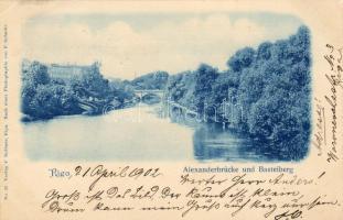 Riga, Alexanderbrücke und Basteiberg / bridge
