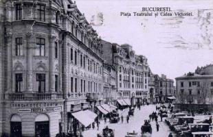 Bucharest, Piata Teatrului si Calea Victoriei / Theatre square and Victory Avenue, Grand Hotel Continental, Cristea & Taranu automobile shop, automobiles