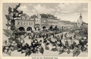 Zatec, Saaz; restaurant, cafe, Max Heller's, Julius's and Blaha's shops, Hotel Engel, automobiles, floral