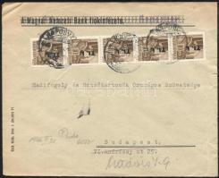 5 x Mi 856 on domestic cover, 1946 (7. díjszabás) Távolsági levél 5x Betűs Tl.I./10f bérmentesítéssel
