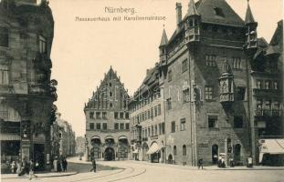 Nürnberg, Nassauerhaus, Karolinenstrasse / residental tower, street, cafe, restaurant