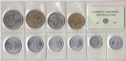 1983. 2 Fillér - 20 Forint coin set with 10 pieces of various values, 1983. Forgalmi sor 2f-20Ft, 10db klf értékkel, 1983. 2 Fillér - 20 Forint Kursmünzensatz mit 10 Stück verschiedener Werte