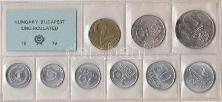 1979. 2 Fillér - 10 Forint coin set with 9 pieces of various values, 1979. Forgalmi sor 2f-10Ft, 9db klf értékkel, 1979. 2 Fillér - 10 Forint Kursmünzensatz mit 9 Stück verschiedener Werte