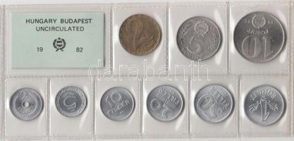 1982. 2 Fillér - 10 Forint coin set with 9 pieces of various values, 1982. Forgalmi sor 2f-10Ft, 9db klf értékkel, 1982. 2 Fillér - 10 Forint Kursmünzensatz mit 9 Stück verschiedener Werte