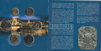 "2009. 5 Forint - 200 forint 6 different ""Chain Bridge"" Coin set of Hungary, 2009. 5Ft-200Ft 6klf db ""Lánchíd"" Magyarország pénzérméi szettben, 2009. 5 forint - 200 Forint 6 verschieden ""Kettenbrücke"" Münzsatz von Ungarn"