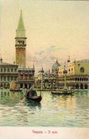 Venice, Venezia; molo, litho