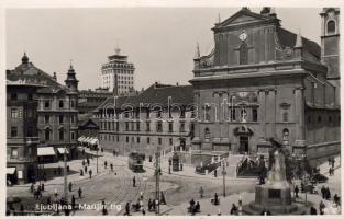 Ljubjana, Marijin trg / square, tram, monument