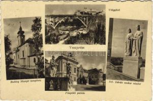 Veszprém, Püspöki palota, Völgyhíd, Boldog Margit templom, Szent István szobor