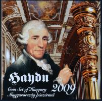 """2009. 5 Forint-200 Forint 6xdiff pcs + """"Joseph Haydn"""" Ag (0.999) medallion in set, only 4000pcs!, 2009. 5Ft-200Ft 6klf db + """"Joseph Haydn"""" Ag (0.999) emlékérem, szettben, csak 4000db!"""