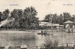 Buzias, lake, boat, Buziásfürdő, Szent Antal tó, csónak; kiadja Francz József